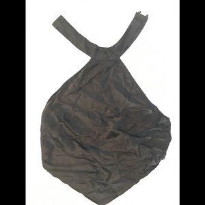 100% silk black halter crop top